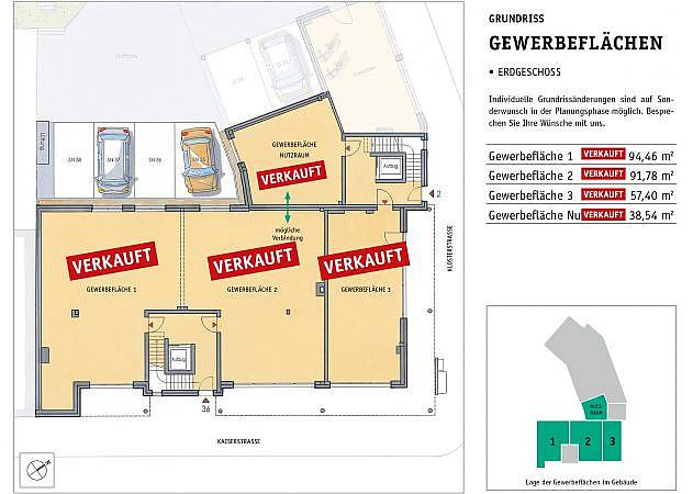 St. Martinus Quartier - Grundriss Erdgeschoss Gewerbeflächen