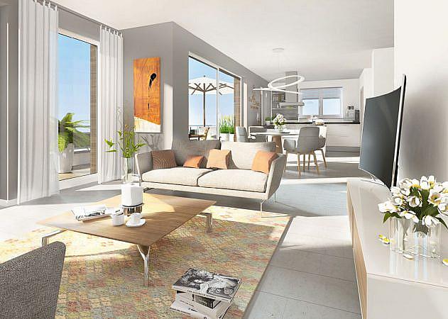 Hugo-Zade-Weg - Ansicht Wohn-Esszimmer | Penthouse